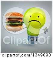 Clipart Of A 3d Unhappy Yellow Light Bulb Character Giving A Thumb Down And Holding A Double Cheeseburger Over Gray Royalty Free Illustration