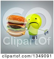 Clipart Of A 3d Unhappy Yellow Light Bulb Character Giving A Thumb Down And Holding Up A Double Cheeseburger Over Gray Royalty Free Illustration