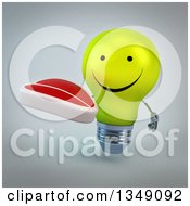 Clipart Of A 3d Happy Yellow Light Bulb Character Holding A Beef Steak Over Gray Royalty Free Illustration