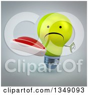 Clipart Of A 3d Unhappy Yellow Light Bulb Character Giving A Thumb Down And Holding A Beef Steak Over Gray Royalty Free Illustration