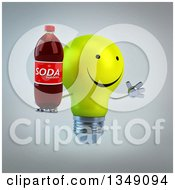 Clipart Of A 3d Happy Yellow Light Bulb Character Facing Right Jumping And Holding A Soda Bottle Over Gray Royalty Free Illustration