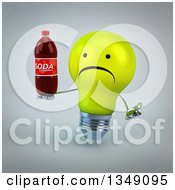 Clipart Of A 3d Unhappy Yellow Light Bulb Character Shrugging And Holding A Soda Bottle Over Gray Royalty Free Illustration