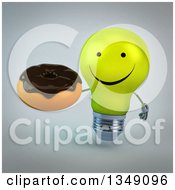 Clipart Of A 3d Happy Yellow Light Bulb Character Holding A Chocolate Glazed Donut Over Gray Royalty Free Illustration