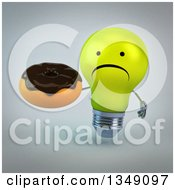 Clipart Of A 3d Unhappy Yellow Light Bulb Character Holding A Chocolate Glazed Donut Over Gray Royalty Free Illustration