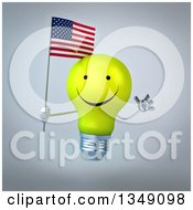 Clipart Of A 3d Happy Yellow Light Bulb Character Holding An American Flag And Jumping Over Gray Royalty Free Illustration