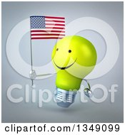 Clipart Of A 3d Happy Yellow Light Bulb Character Facing Left And Holding An American Flag Over Gray Royalty Free Illustration
