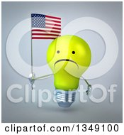 Clipart Of A 3d Unhappy Yellow Light Bulb Character Holding An American Flag Over Gray Royalty Free Illustration