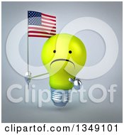 Clipart Of A 3d Unhappy Yellow Light Bulb Character Holding And Pointing To An American Flag Over Gray Royalty Free Illustration