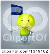 Clipart Of A 3d Happy Yellow Light Bulb Character Holding And Pointing To A European Flag Over Gray Royalty Free Illustration