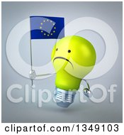 Clipart Of A 3d Unhappy Yellow Light Bulb Character Facing Left And Holding A European Flag Over Gray Royalty Free Illustration