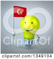 Clipart Of A 3d Happy Yellow Light Bulb Character Holding A Turkish Flag Over Gray Royalty Free Illustration