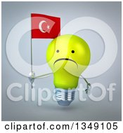 Clipart Of A 3d Unhappy Yellow Light Bulb Character Holding A Turkish Flag Over Gray Royalty Free Illustration