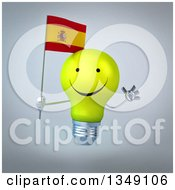 Clipart Of A 3d Happy Yellow Light Bulb Character Holding A Spanish Flag And Jumping Over Gray Royalty Free Illustration