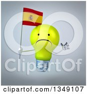 Clipart Of A 3d Unhappy Yellow Light Bulb Character Holding A Spanish Flag And Jumping Over Gray Royalty Free Illustration by Julos