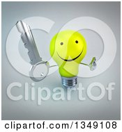 Clipart Of A 3d Happy Yellow Light Bulb Character Holding Up A Thumb And A Key Over Gray Royalty Free Illustration by Julos