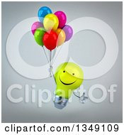 Clipart Of A 3d Happy Yellow Light Bulb Character Floating With Party Balloons  Over Gray Royalty Free Illustration