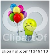 Clipart Of A 3d Unhappy Yellow Light Bulb Character Holding Party Balloons  Over Gray Royalty Free Illustration