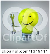 Clipart Of A 3d Happy Yellow Light Bulb Character Holding A Wrench Over Gray Royalty Free Illustration