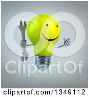 Clipart Of A 3d Happy Yellow Light Bulb Character Jumping And Holding A Wrench Over Gray Royalty Free Illustration