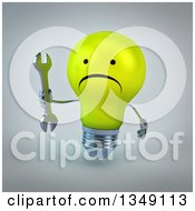 Clipart Of A 3d Unhappy Yellow Light Bulb Character Holding A Wrench Over Gray Royalty Free Illustration