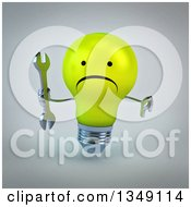 Clipart Of A 3d Unhappy Yellow Light Bulb Character Holding A Wrench And Giving A Thumb Down Over Gray Royalty Free Illustration