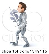Clipart Of A 3d Caucasian Male Armored Knight Holding A Dollar Currency Symbol And Walking To The Left Royalty Free Illustration