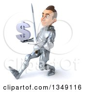Clipart Of A 3d Caucasian Male Armored Knight Holding A Dollar Currency Symbol And Speed Walking To The Left Royalty Free Illustration