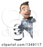 Clipart Of A 3d Caucasian Male Armored Knight Holding A Euro Currency Symbol Around A Sign Royalty Free Illustration