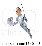 Clipart Of A 3d Caucasian Male Armored Knight Holding A Euro Currency Symbol And Sword And Flying Royalty Free Illustration