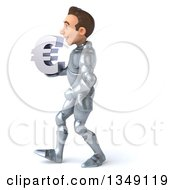 Clipart Of A 3d Caucasian Male Armored Knight Holding A Euro Currency Symbol And Walking To The Left Royalty Free Illustration