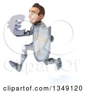 Clipart Of A 3d Caucasian Male Armored Knight Holding A Euro Currency Symbol And Sprinting To The Left Royalty Free Illustration