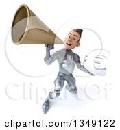 Clipart Of A 3d Caucasian Male Armored Knight Holding A Euro Currency Symbol And Using A Megaphone Royalty Free Illustration