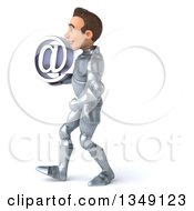 Clipart Of A 3d Caucasian Male Armored Knight Holding An Email Arobase At Symbol And Walking To The Left Royalty Free Illustration