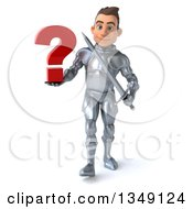 Clipart Of A 3d Caucasian Male Armored Knight Holding A Sword And Question Mark And Walking Royalty Free Illustration