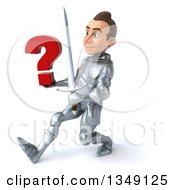 Clipart Of A 3d Caucasian Male Armored Knight Holding A Sword And Question Mark And Speed Walking To The Left Royalty Free Illustration