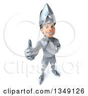 Clipart Of A 3d Caucasian Male Armored Knight Smiling And Holding Up A Thumb Royalty Free Illustration