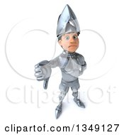 Clipart Of A 3d Caucasian Male Armored Knight Frowning And Holding Up A Thumb Down Royalty Free Illustration