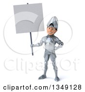 Clipart Of A 3d Caucasian Male Armored Knight Holding A Blank Sign Royalty Free Illustration