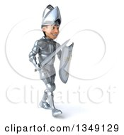 Clipart Of A 3d Caucasian Male Armored Knight Walking To The Right With A Sword And Shield Royalty Free Illustration