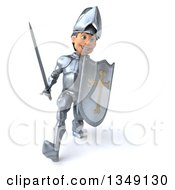 Clipart Of A 3d Caucasian Male Armored Knight Speed Walking With A Sword And Shield Royalty Free Illustration