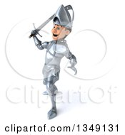 Clipart Of A 3d Caucasian Male Armored Knight Swinging A Sword To The Right Royalty Free Illustration