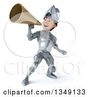 Clipart Of A 3d Caucasian Male Armored Knight Using A Megaphone Royalty Free Illustration