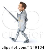 Clipart Of A 3d Caucasian Male Armored Knight Walking To The Left With A Sword And Shield Royalty Free Illustration