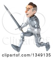 Clipart Of A 3d Caucasian Male Armored Knight Sprinting To The Left With A Sword Royalty Free Illustration
