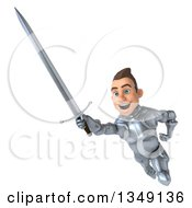 Clipart Of A 3d Caucasian Male Armored Knight Flying With A Sword Royalty Free Illustration
