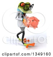 Clipart Of A 3d Bespectacled Green Doctor Springer Frog Walking And Holding A Piggy Bank Royalty Free Illustration