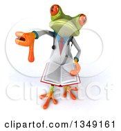 Clipart Of A 3d Green Doctor Springer Frog Holding Up A Thumb Down And A Book Royalty Free Illustration