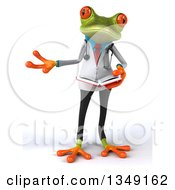 Clipart Of A 3d Green Doctor Springer Frog Presenting And Holding A Book Royalty Free Illustration