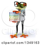 Clipart Of A 3d Bespectacled Green Doctor Springer Frog Holding A Stack Of Books Royalty Free Illustration