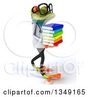 Clipart Of A 3d Bespectacled Green Doctor Springer Frog Walking And Holding A Stack Of Books Royalty Free Illustration by Julos